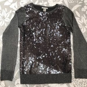 H&M sequined gray/silver light sweater